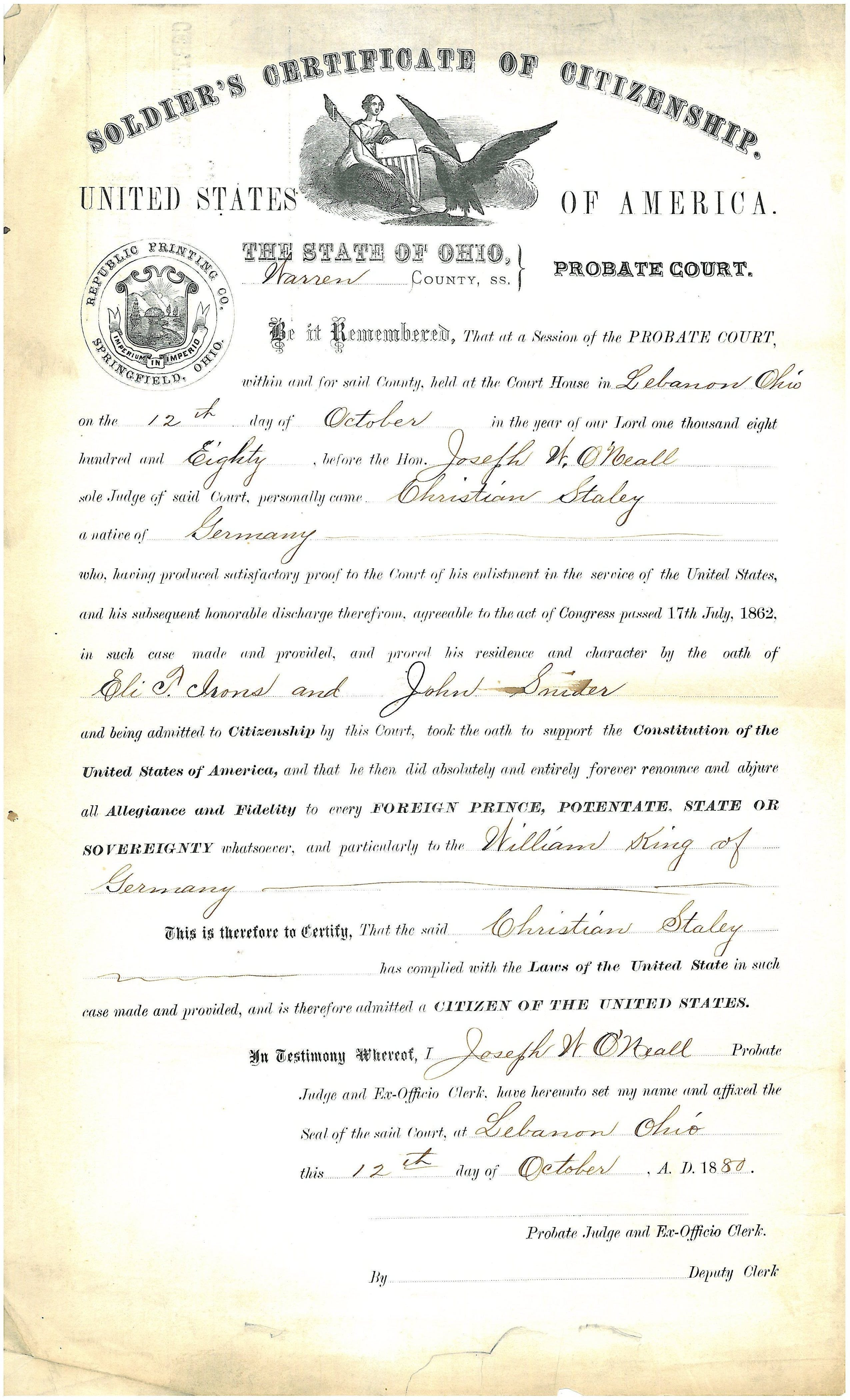 Soldiers Certificate Of Citizenship Warren County Records Center