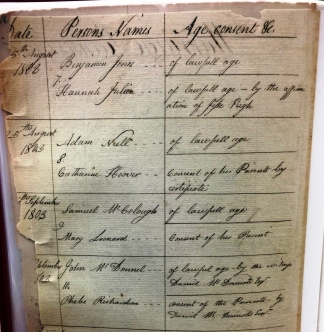 Marriage Record, 1803